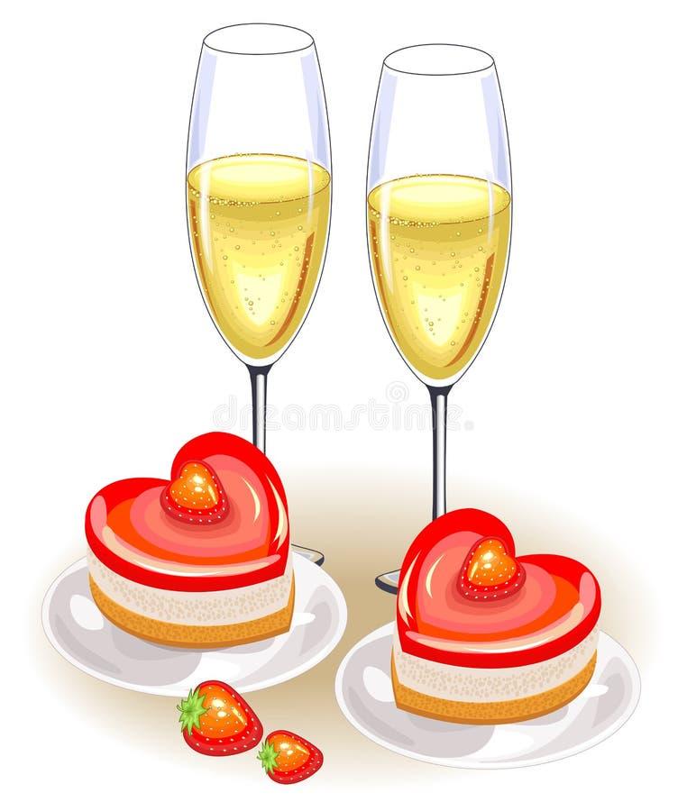 Tam są dwa szkła szampan na świątecznym stole Romantyczny tort w formie serca Stosowny dla kochank?w na walentynce s royalty ilustracja