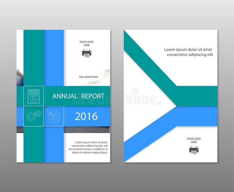 Tamaño azul de la plantilla A4 del aviador del folleto del prospecto del informe anual, diseño de la disposición de la cubierta d ilustración del vector
