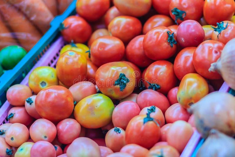 Tamaño enorme orgánico de los tomates para la venta en el mercado fresco Ubicación imagen de archivo