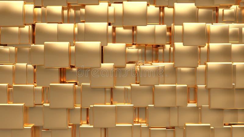 Tamaño-posición al azar cúbica 3d del oro metálico rendir el fondo abstracto stock de ilustración