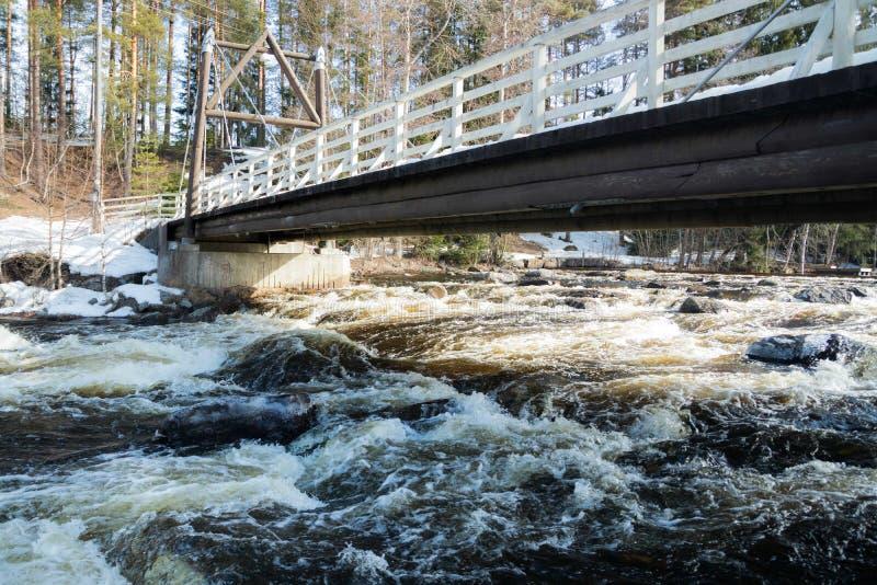 Tama i próg na rzecznym Jokelanjoki, Kouvola, Finlandia zdjęcie stock