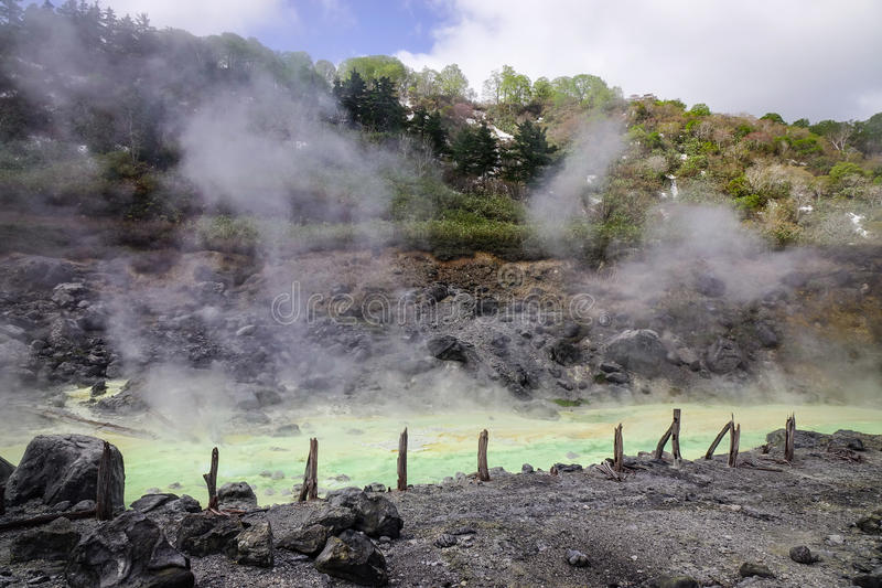 Tamagawa-heiße Quelle in Akita, Japan stockfotografie