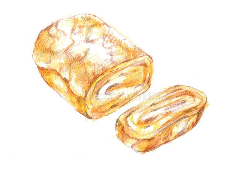 Tamagoyaki fresco, illustra dulce japonés del dibujo de la parrilla del rollo de huevo ilustración del vector