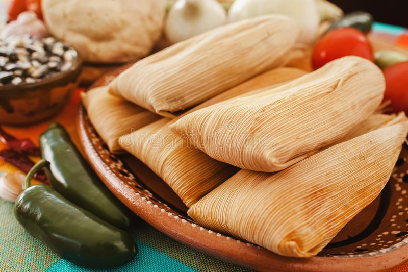 Tamales mexicanos, mexican tamale ingredients, spicy food in mexico. Tamales mexicanos, mexican tamale, spicy food in mexico city, traditions royalty free stock photography