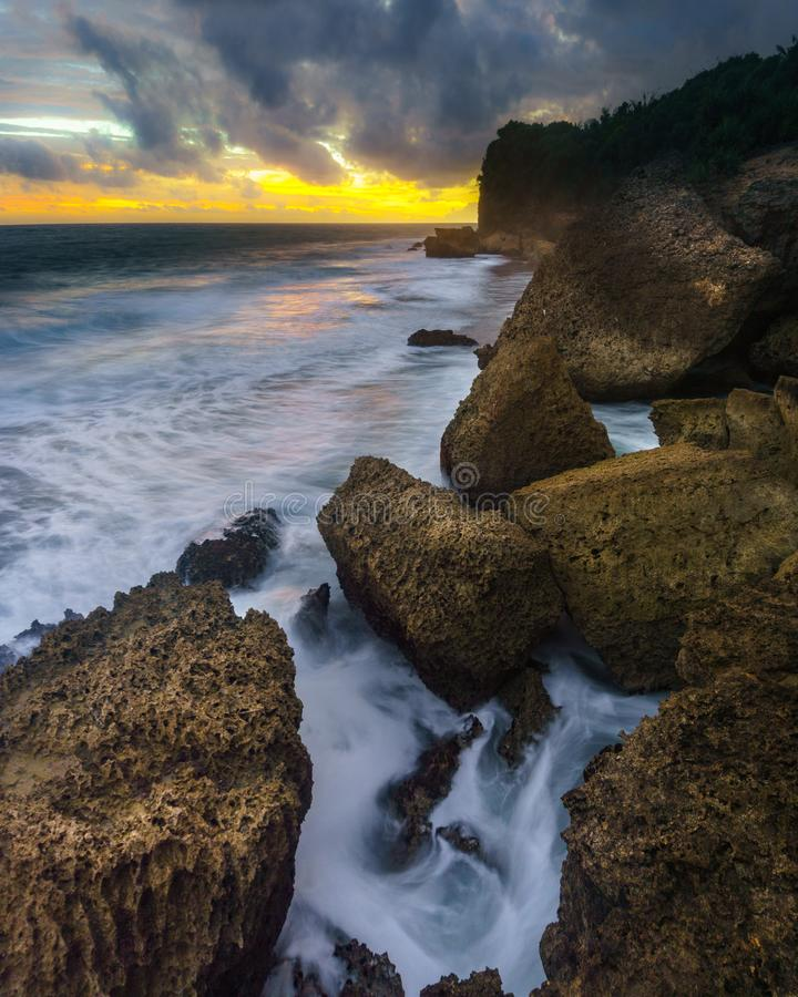 Taman Ayu Beach. Located in SOuth Malang, Indonesia on February 2018 stock photos