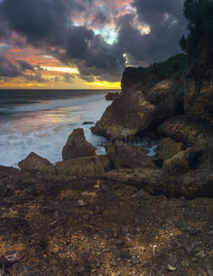 Taman Ayu Beach. Located in SOuth Malang, Indonesia on February 2018 royalty free stock images