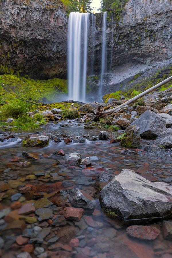 Tamanawas Falls along Cold Spring Creek in Oregon. Tamanawas Falls along Cold Spring Creek near Mount Hood in Oregon stock photography