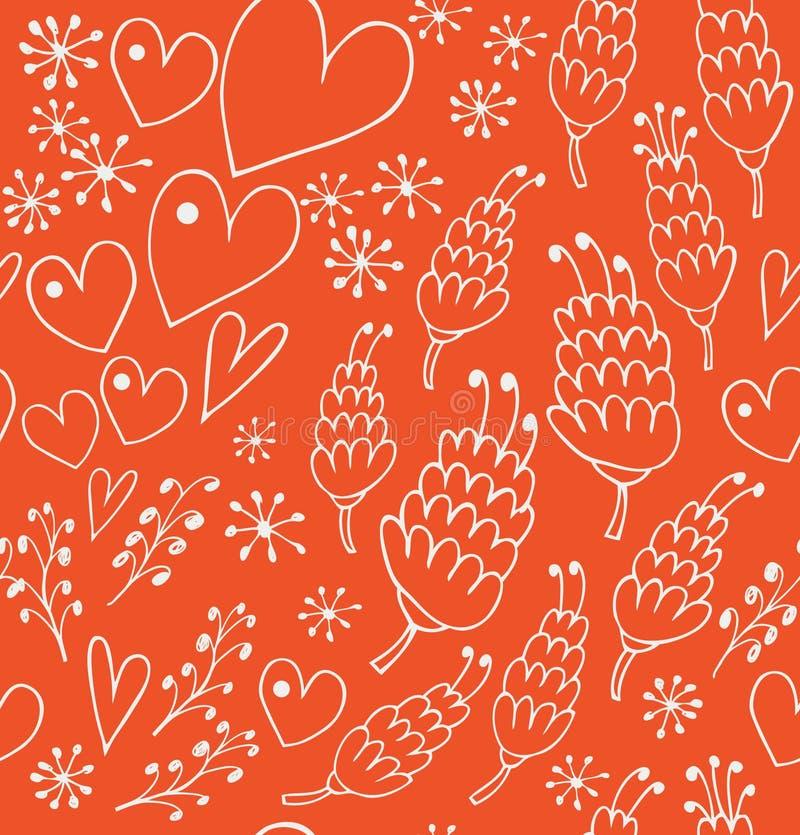 Tamanco sem emenda da garatuja com flores e corações Fundo infinito do laço para cópias ilustração do vetor