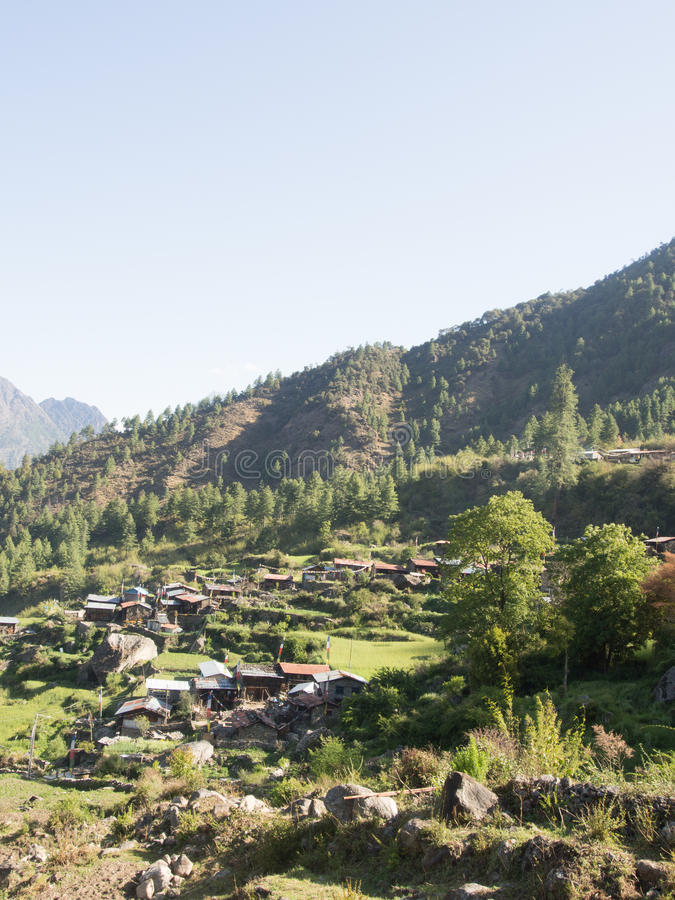Tamang村庄在尼泊尔 免版税库存照片