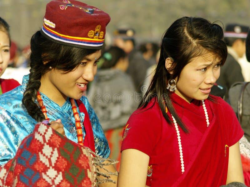 Download Tamang Girls editorial stock image. Image of greetings - 23031104