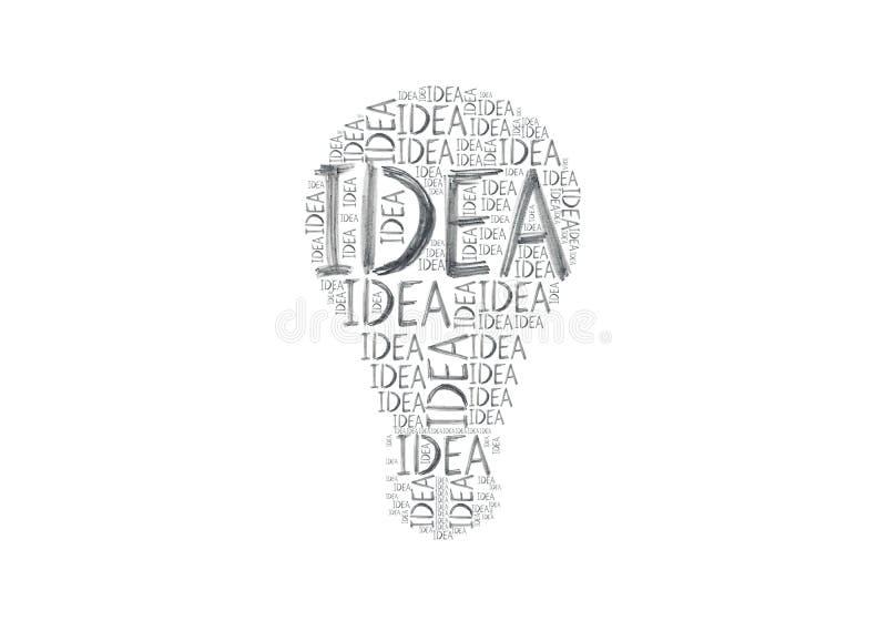 Tamanho diferente da ideia desenhado à mão das palavras escrito muitas vezes que fazem o símbolo da ampola ilustração royalty free