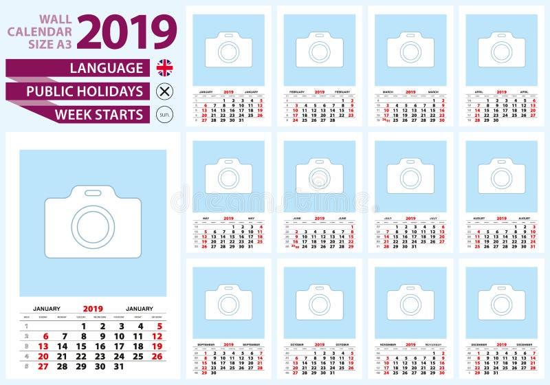 Tamanho A3 do calendário de parede 2019 Língua inglesa, começo da semana da SU ilustração do vetor