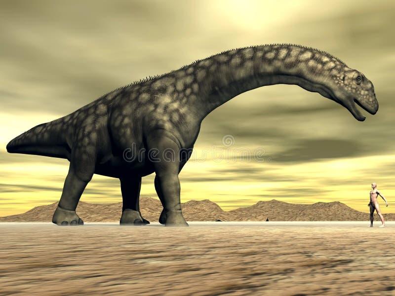 Tamanho do dinossauro e do ser humano do Argentinosaurus - 3D rendem ilustração do vetor