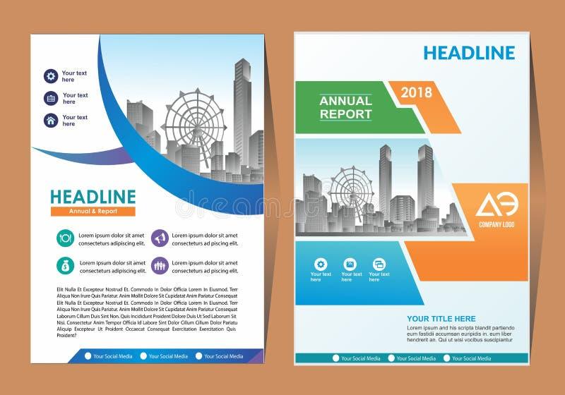 Tamanho do molde de tampa a4 Projeto do folheto do negócio Tampa do informe anual Ilustração do vetor ilustração royalty free