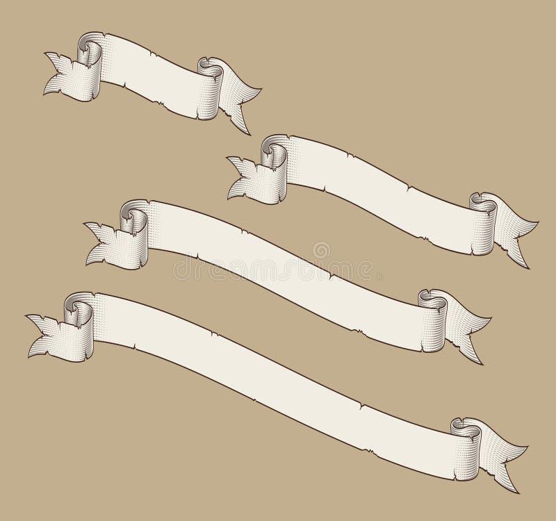 Tamanhos curvados rolo 1 da diagonal quatro do papiro ilustração royalty free