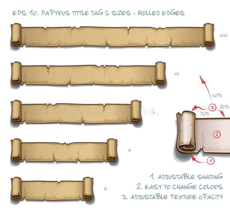 Tamanhos da etiqueta cinco de Tittle do papiro - bordas roladas ilustração royalty free