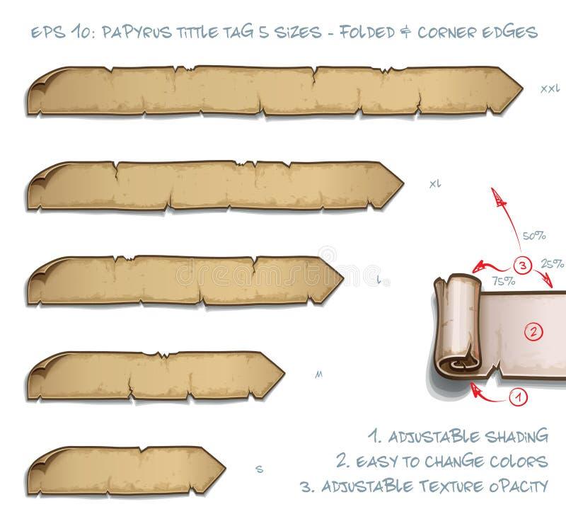 Tamanhos da etiqueta cinco de Tittle do papiro - dobrados e bordas de canto ilustração royalty free