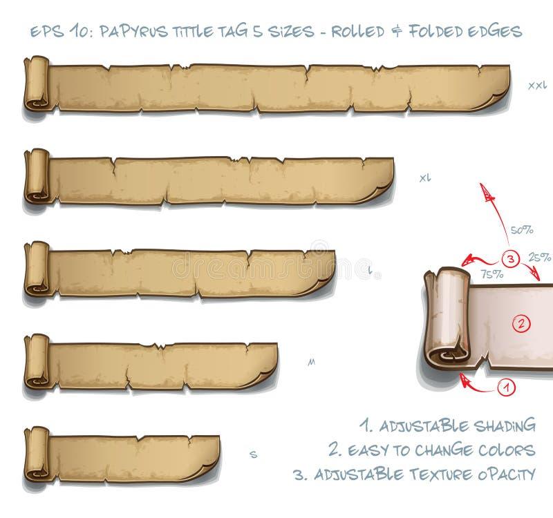 Tamanhos da etiqueta cinco de Tittle do papiro - rolados e bordas dobradas ilustração do vetor