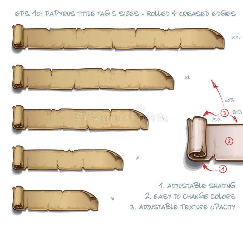 Tamanhos da etiqueta cinco de Tittle do papiro - rolados e bordas vincadas ilustração do vetor