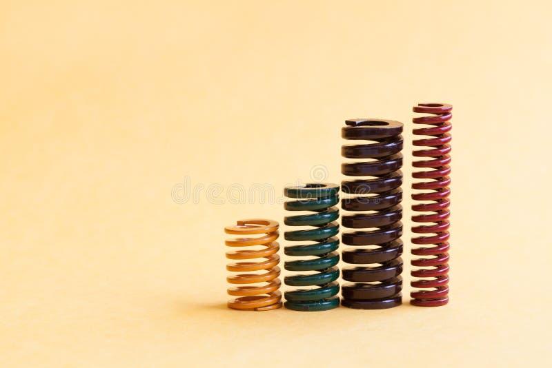 Tamanhos diferentes ajustados da flexibilidade da dureza da mola enrolado do ferro Fios espirais metálicos coloridos no fundo ama imagem de stock