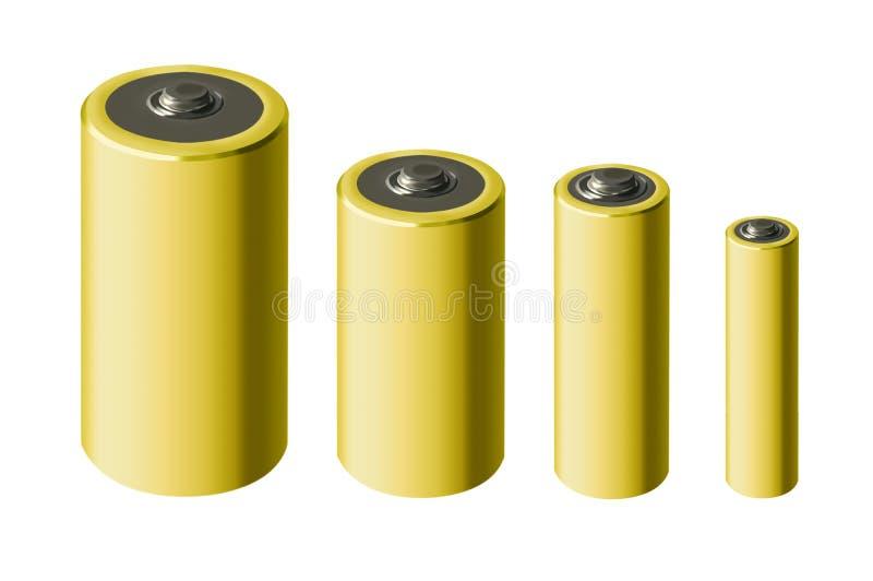 Tamanhos diferentes de baterias amarelas no fundo branco ilustração royalty free