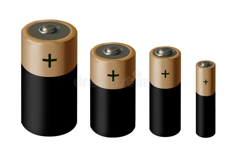 Tamanhos diferentes de baterias marrons e pretas no fundo branco ilustração stock