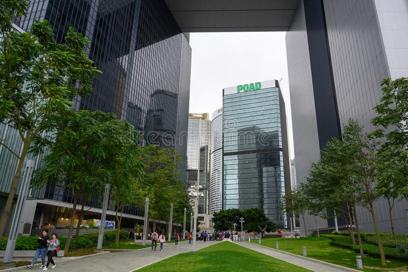 Tamar park i rzędu centralnego kompleks, Hong Kong wyspa obrazy royalty free