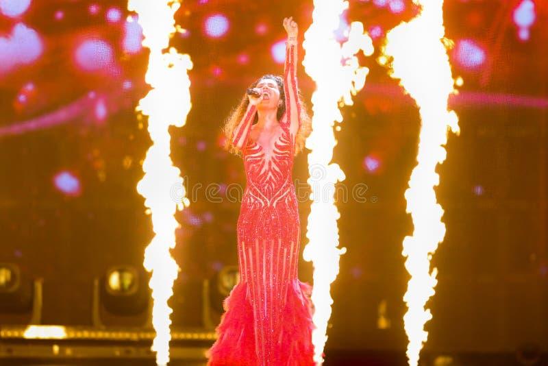 Tamara Gachechiladze from Georgia. KYIV, UKRAINE - MAY 08, 2017: Tamara Gachechiladze from Georgia at the first semi-final rehearsal during Eurovision Song royalty free stock images