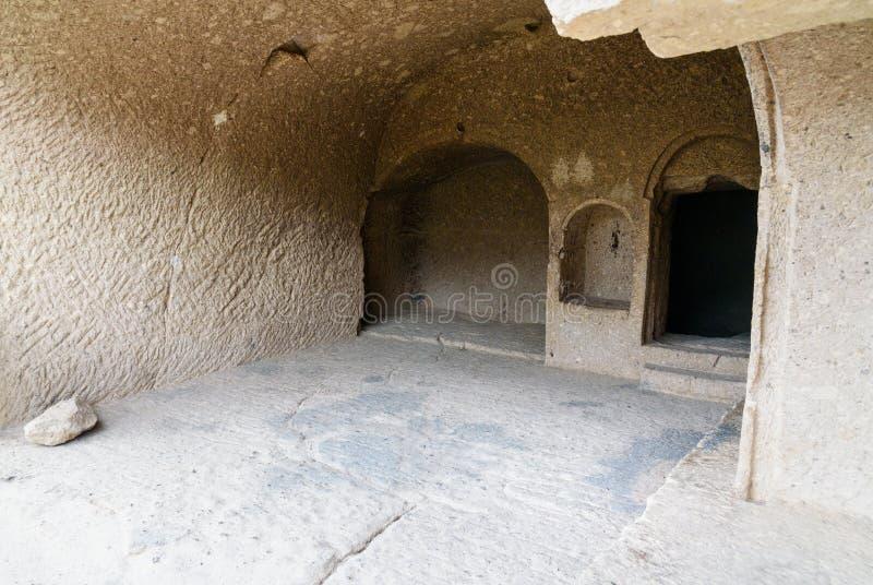 Tamara-` s Raum im Vardzia-Höhlenkloster georgia stockfotos