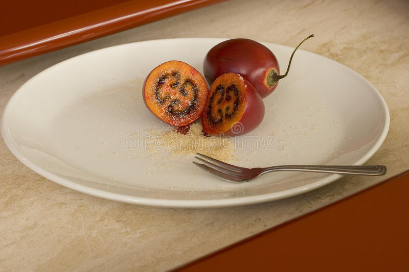 Tamarillo sliced mouthwatering.