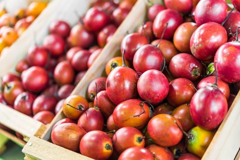 Tamarillo tree tomato exotic fruit at a street food market fair festival. Tamarillo tree tomato exotic fruit at a street food market fair festival royalty free stock photos