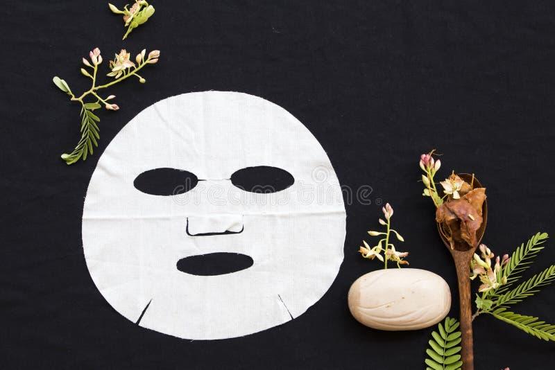 Tamarinier de fines herbes d'arome de feuille d'extrait naturel de masque photo stock