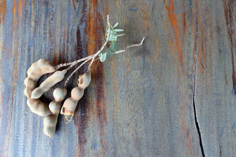 Tamarynda na drewnianym stołowym tle kleista brown acidic braja od strąka drzewo grochowa rodzina zdjęcie royalty free