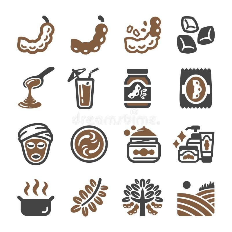 Tamaryndy ikony set ilustracji