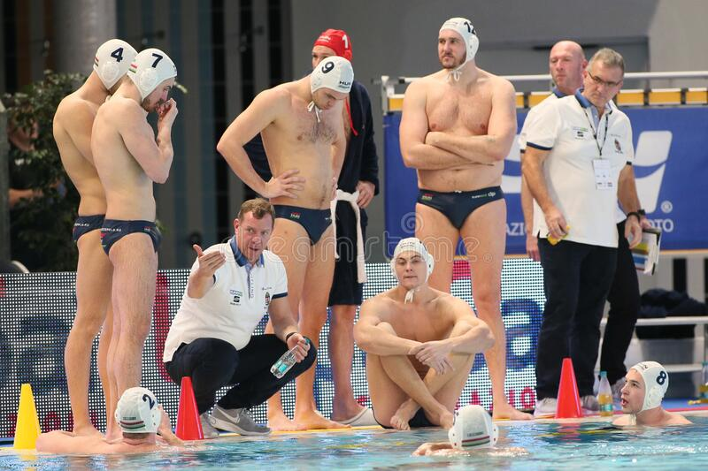 Waterpolo International Teams International Quadrangular - Hungary vs Greece. Tamas marcz (coach hungary) during International Quadrangular - Hungary vs Greece stock image