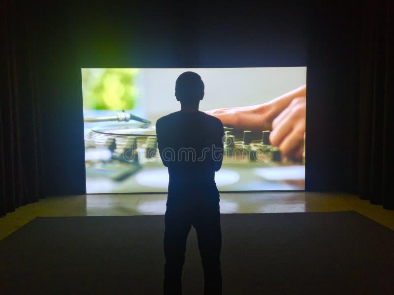 Tamayo Museum Cinematic Apreciating Man lizenzfreie stockfotos