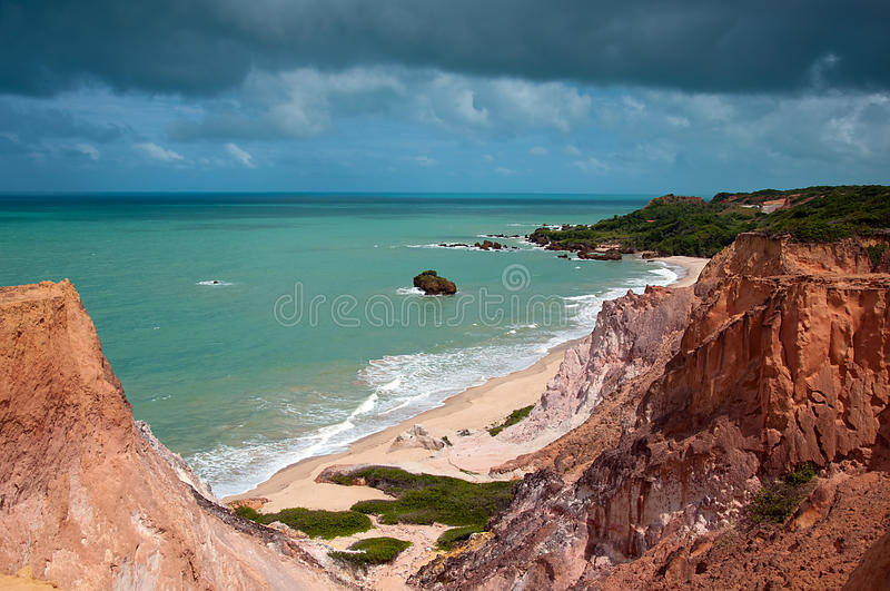 Tambaba Beach in Brazil. Tambaba beach is located in Paraiba, Brazil. It is one of the many nude beaches in Brazil. Photo was taken high from the cliff side stock images