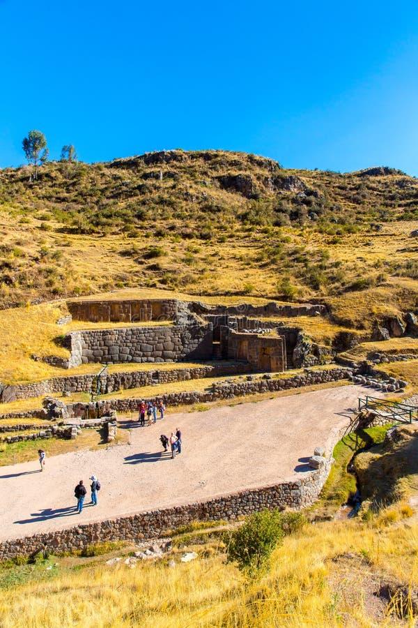 Tambomachay - archeologische plaats in Peru, dichtbij Cuzco. Toegewijd aan cultus van water stock fotografie