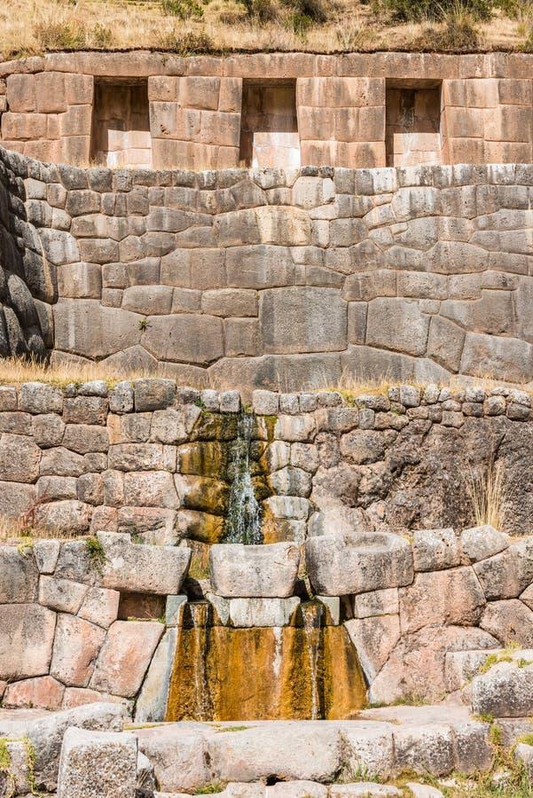 Tambomachay ruïneert de Peruviaanse Andes Cuzco Peru stock foto