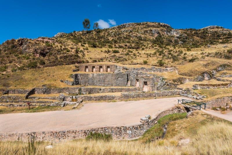Tambomachayruïnes in de Peruviaanse Andes in Cuzco Peru royalty-vrije stock foto's