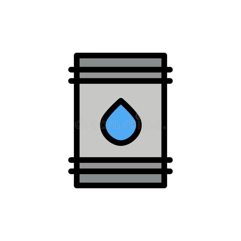 Tambor, óleo, combustível, flamable, ícone liso da cor de Eco Molde da bandeira do ícone do vetor ilustração royalty free