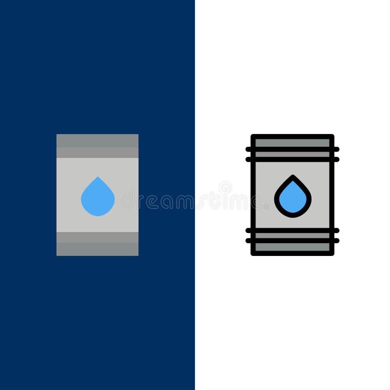 Tambor, óleo, combustível, flamable, ícones de Eco O plano e a linha ícone enchido ajustaram o fundo azul do vetor ilustração royalty free