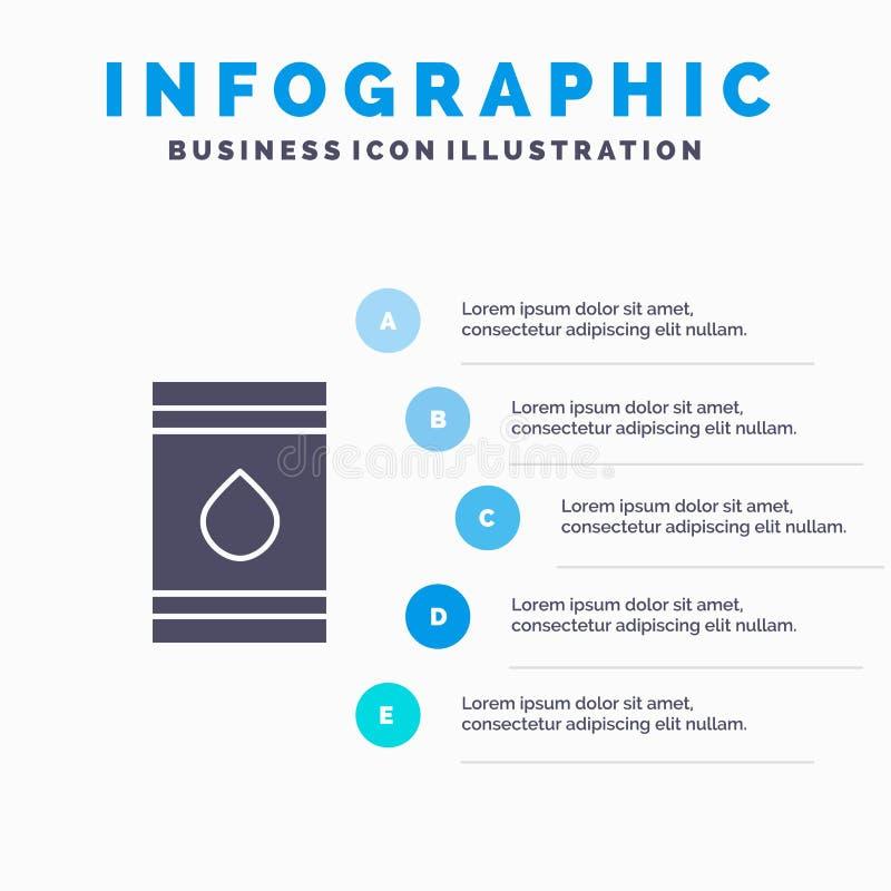 Tambor, óleo, combustível, flamable, fundo contínuo da apresentação das etapas de Infographics 5 do ícone de Eco ilustração do vetor