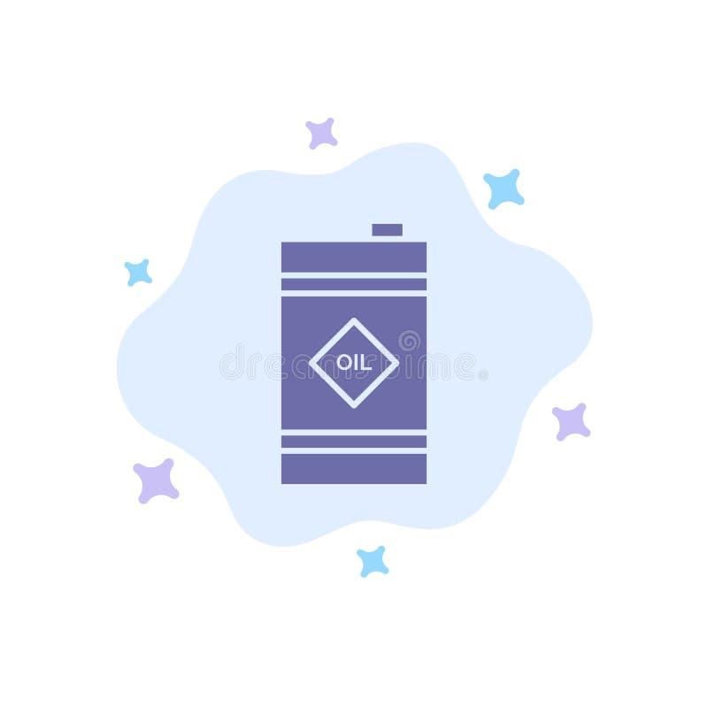 Tambor, óleo, tambor de óleo, ícone azul tóxico no fundo abstrato da nuvem ilustração royalty free