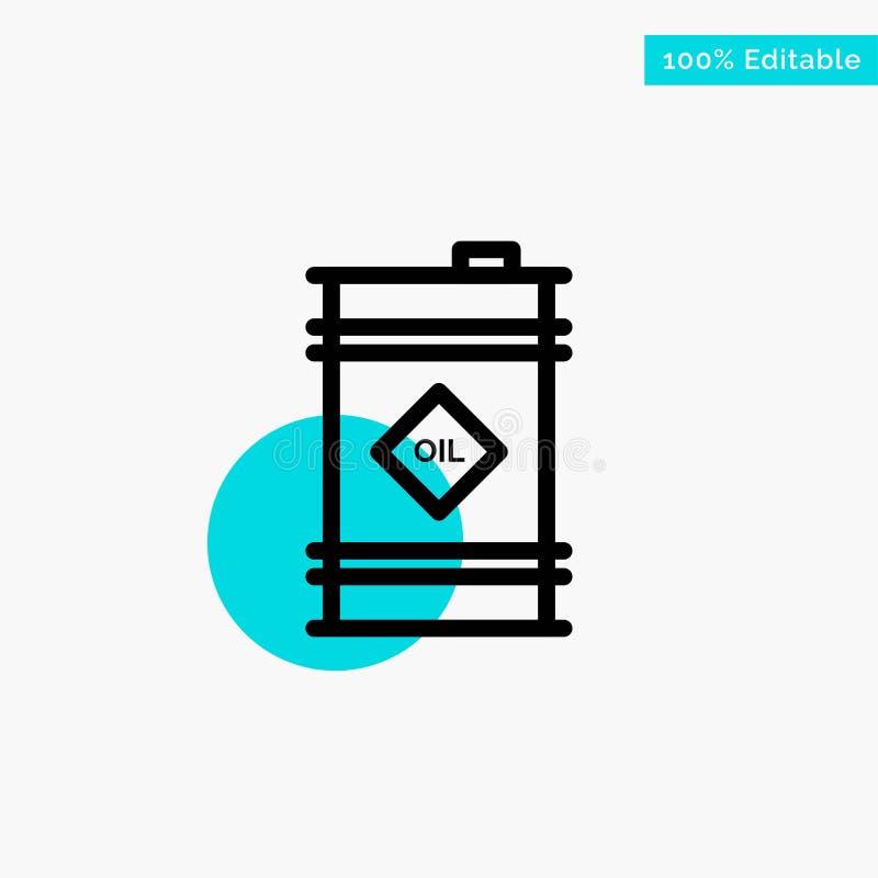 Tambor, óleo, tambor de óleo, ícone tóxico do vetor do ponto do círculo do destaque de turquesa ilustração stock