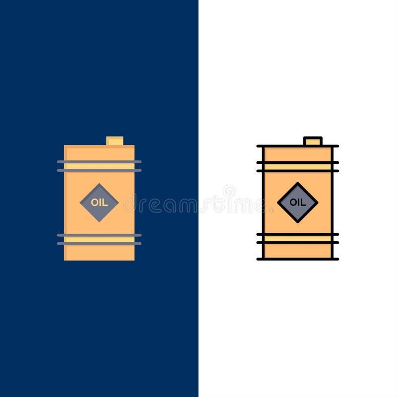 Tambor, óleo, tambor de óleo, ícones tóxicos O plano e a linha ícone enchido ajustaram o fundo azul do vetor ilustração royalty free