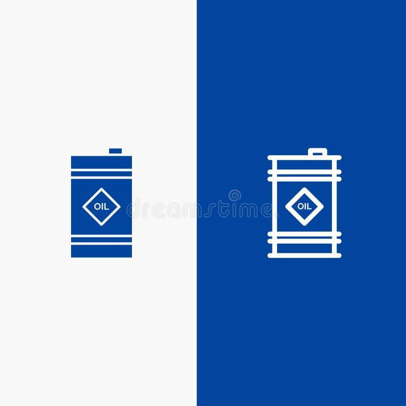 Tambor, óleo, tambor de óleo, do ícone contínuo azul da linha e do Glyph de bandeira do ícone contínuo tóxico da linha e do Glyph ilustração stock