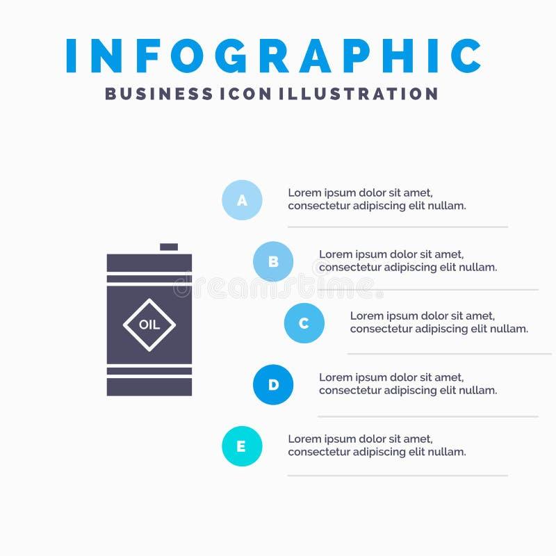 Tambor, óleo, tambor de óleo, fundo contínuo tóxico da apresentação das etapas de Infographics 5 do ícone ilustração stock