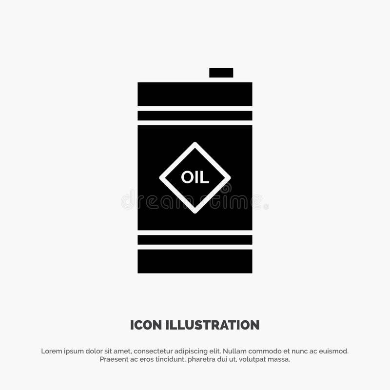 Tambor, óleo, tambor de óleo, vetor contínuo tóxico do ícone do Glyph ilustração royalty free