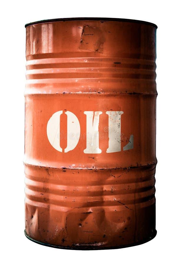 Tambor de óleo alaranjado industrial isolado imagens de stock royalty free